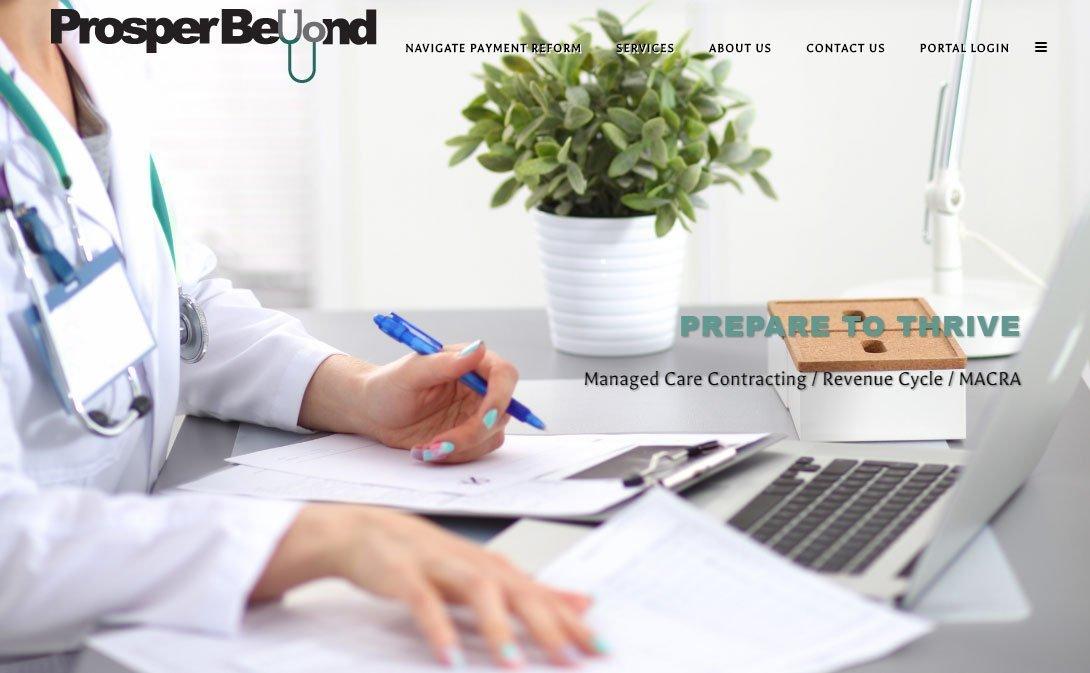 healthcare consultant website homepage - Prosper Beyond