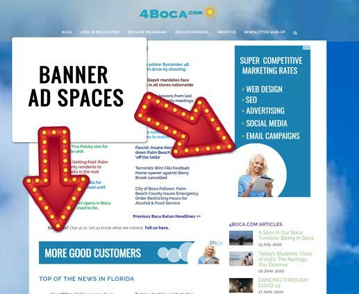 Banner ad spaces - where banners are placed on websites.